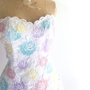 Victor Costa Vintage Lace Dress, 80s prom cocktail